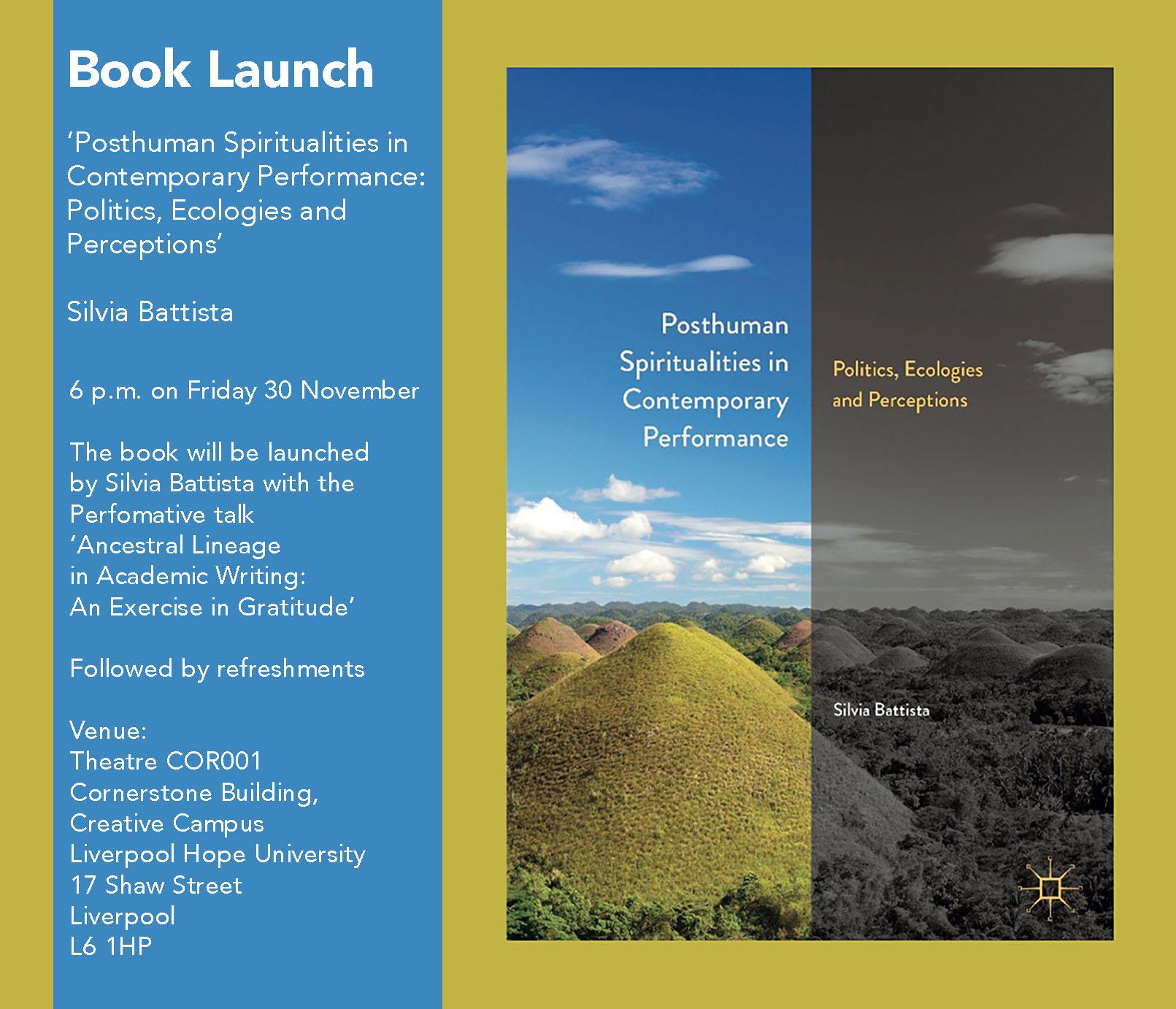 The Cornerstone: Posthuman Spiritualities in Contemporary Performance, Silvia Battista book launch
