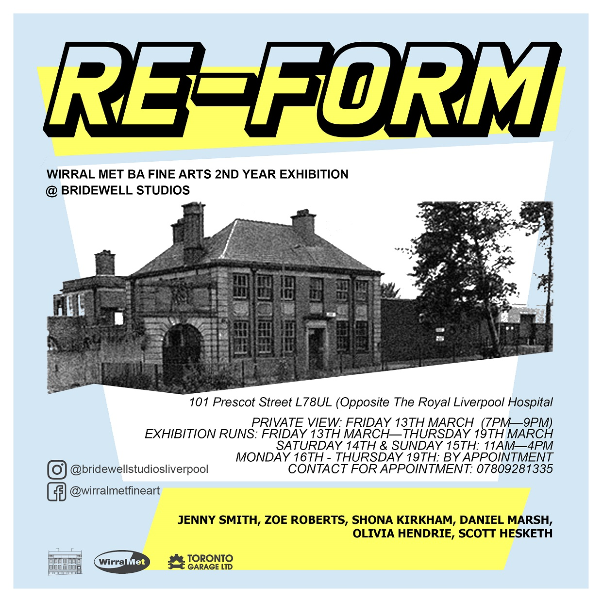 Bridewell Studios: RE-FORM, Wirral Met BA Fine Arts 2nd Year Exhibition