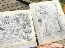 The Reader (dot-art): Sketching in the Park